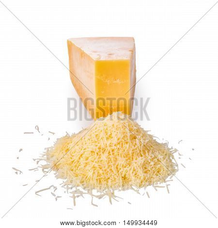 Single Tasty Fresh Yellow Big Segment Piece Of Hard Parm And  Grated Cheese Is Isolated On White Bac