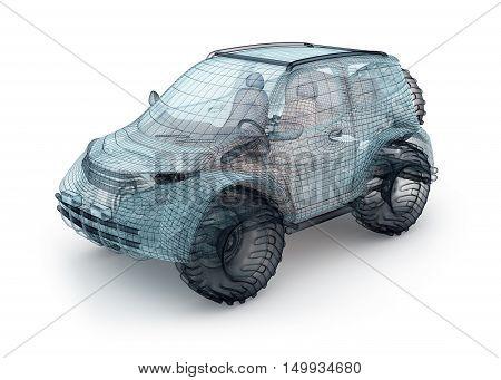 Offroad car design wire model. My own design.