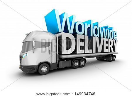 Modern truck with Worldwide delivery word isolated. My own truck design.
