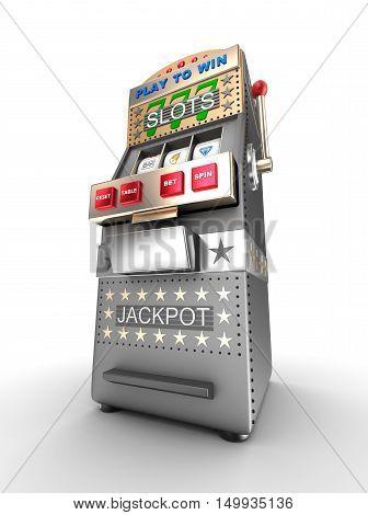 Slot machine gamble machine,3D render ,3D render