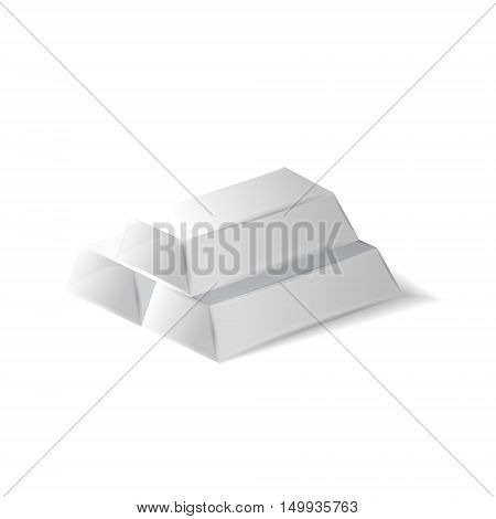 High quality silver ingots 3d realistic vector illustration isolated on white background eps 10