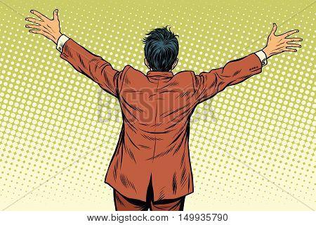 Retro man worth spread wide his arms, back, pop art retro vector illustration