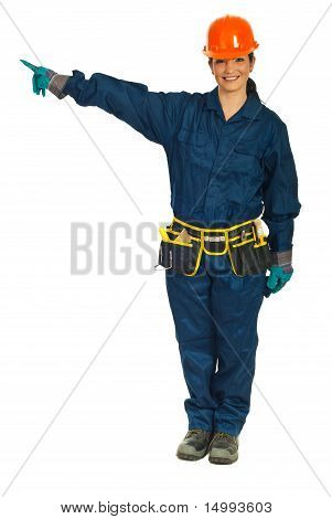 Constructor Worker Woman Pointing