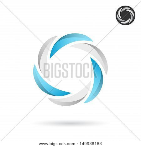 Segmented circle with blue and white sections rotation concept 2d vector icon on white background eps 10