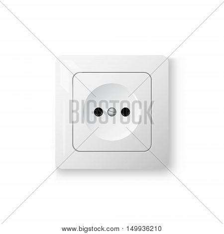 White power socket on wall with shadow 3d realistic vector illustration mesh gradient white background eps 10