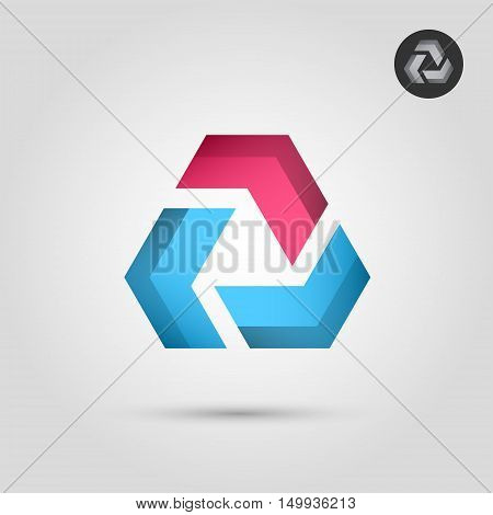 Delta letter with blue and red segments union concept icon 2d vector icon on gradient background eps 10