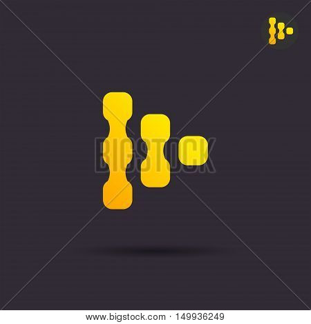 Next abstract sign golden arrow icon 2d vector illustration on dark background eps 10