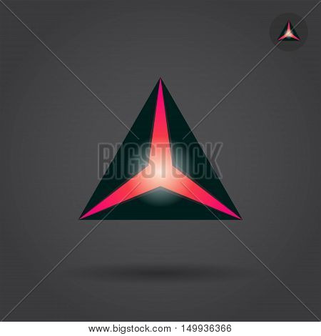 Black triangle with red hole delta concept sign 2d vector illustration on dark background eps 10