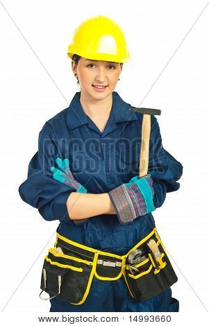 Smiling Constructor Worker Woman