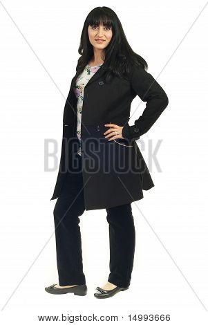 Attractive Woman In Black Jacket
