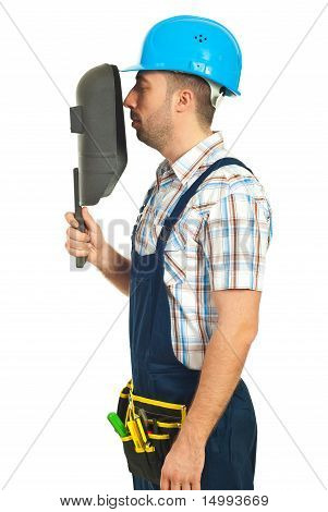 Profile Of Worker Man With Welding Mask