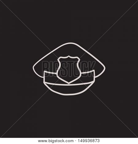 Policeman hat with badge vector sketch icon isolated on background. Hand drawn Policeman hat with badge icon. Policeman hat with badge sketch icon for infographic, website or app.