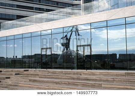 AARHUS DENMARK - SEPTEMBER 18 2016: Close to the new building with glass facade at the port of Aarhus- Aarhus will be European capital of culture in 2017. September 18 2016