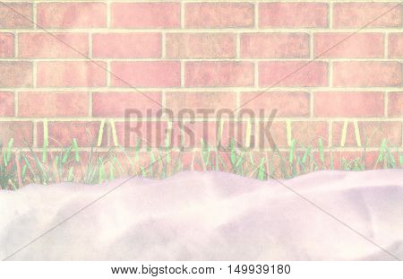 Unexpected blizzard. A grass under snow. 3D illustration
