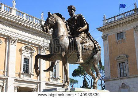 Equestrian Statue of Marcus Aurelius in Campidoglio square of Rome, Italy