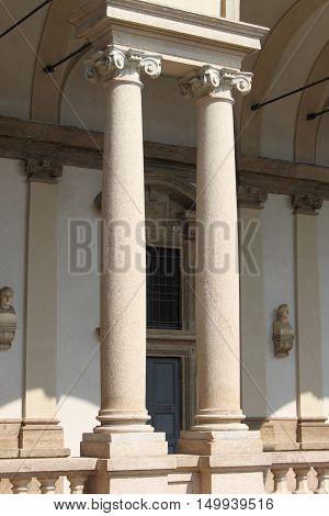 Two columns inside a typical renaissance cloister