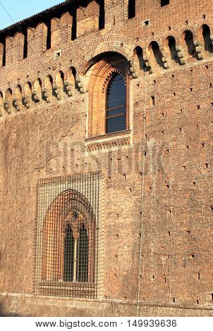 Fortified walls of Sforzesco castle in Milan, Italy