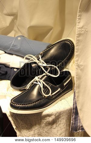 Pair of elegant italian style nautical shoes