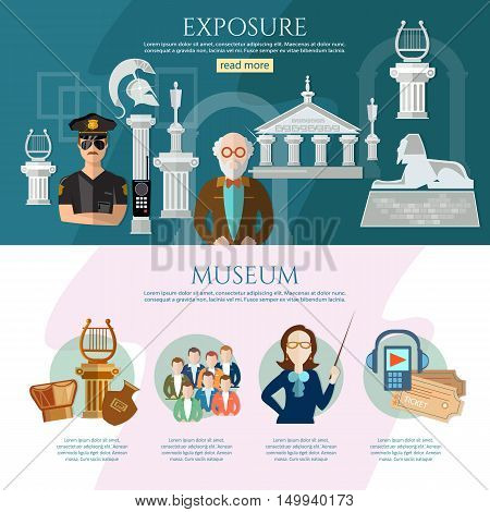 Museum infographics history and culture of civilization guide museum vector illustration