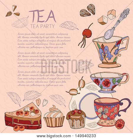 Tea card template for restaurant cafe design package tea party card hand drawn ink vector