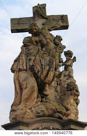 Saint Luitgarda statue in Charles bridge Prague, Czech Republic