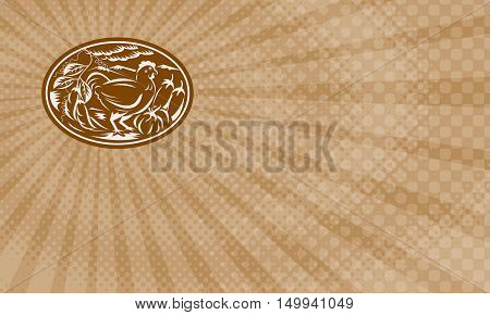 Business card showing Illustration of a hen chicken side view with beans eggplant squash pumpkin vegetable crop set inside oval done in retro woodcut style.