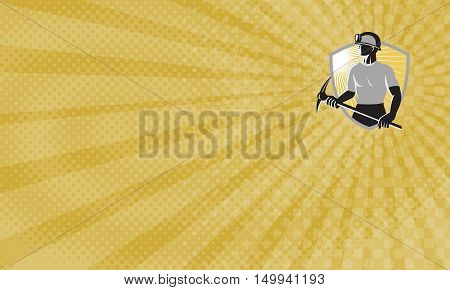 Business card showing Illustration of a coal miner with pick ax viewed from the side done in retro style with shield in the background.