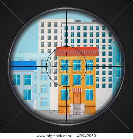Sniper takes aim at house window in the city square flat illustration