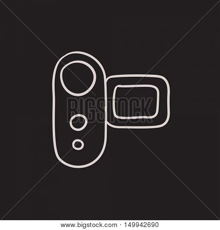Digital video camera vector sketch icon isolated on background. Hand drawn Digital video camera icon. Digital video camera sketch icon for infographic, website or app.