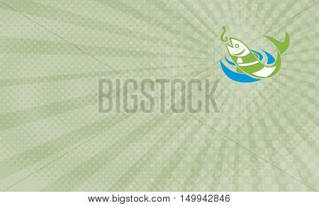 Business card showing Retro illustration of a fish jumping for bait hook on isolated white background.