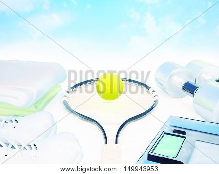 Fitness and sports equipment on white. 3D illustration