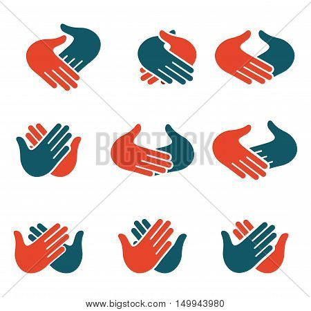 Isolated abstract clapping hands logo set. Give five logotype collection. Shaking hands sign. Greeting symbol. Positive friendly congratulating gesture icon. Teamwork element. Vector illustration