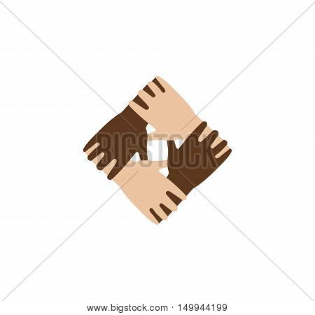 Isolated abstract dark and light skin hands together logo. Black and white people friendship logotype. Equal rights sign.International communication symbol. Help and support icon.Vector illustration