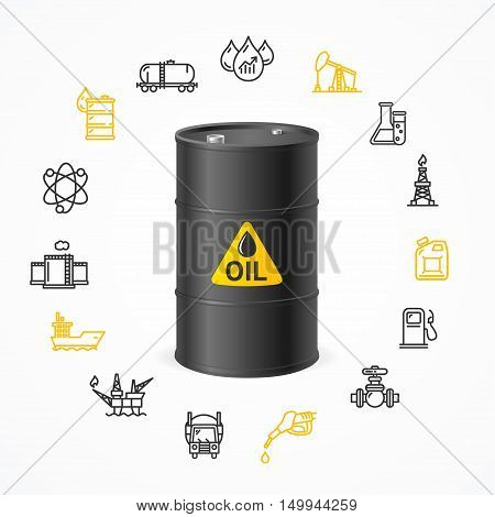 Oil Industry Concept with Black Barrel Drum Label and Icon Set Pixel Perfect Art. Material Design. Vector illustration