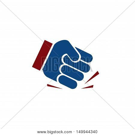 Isolated blue color fist logo. Human hand angry gesture. Protest symbol. Aggressive objection sign. Force and violence icon. Designed judge hammer. Vector illustration