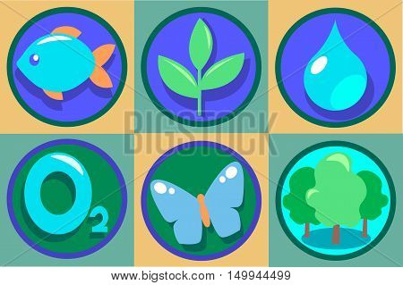 Ecology Icon Set. Vector Eco illustrations. Pure drop of water, oxygen, green forest, growing plant, butterfly, fish