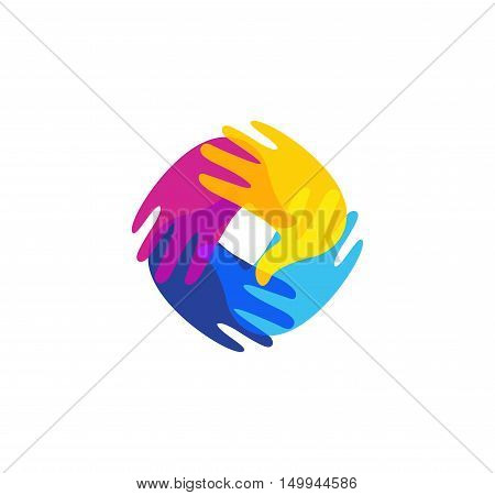 Isolated abstract colorful human hands together logo. Kids playroom logotype. Kindergarten sign. Children handprints in paint symbol. Art school emblem. Vector illustration