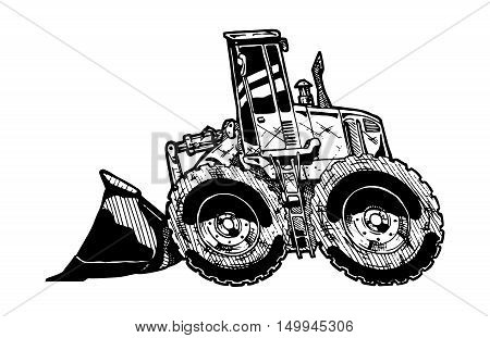 vector illustration of heavy equipment loader in comics style