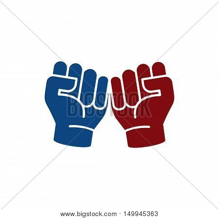 Isolated abstract blue and brown color fists logo. Human hands logotype. Clenched fists icon. Aggressive revolutionary gesture sign. Protest symbol. Vector illustration