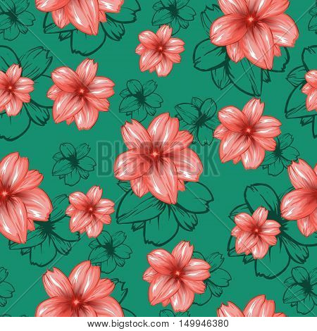 Seamless pattern with pink flowers on the turquoise or green background.Vector fashion fabric textile design. Can be used for pillow or tablecloth.
