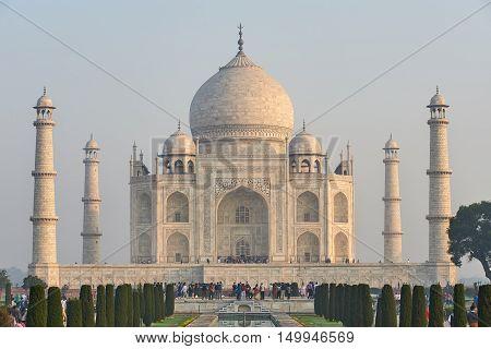 Taj Mahal India, Agra. 7 World Wonders. Beautiful Tajmahal Travel Destination.