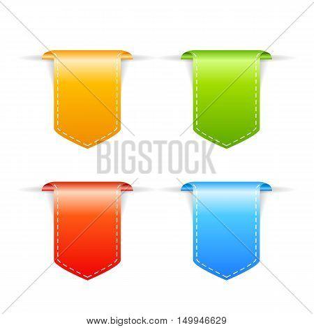 Bookmark ribbons set vector illustration isolated on white background