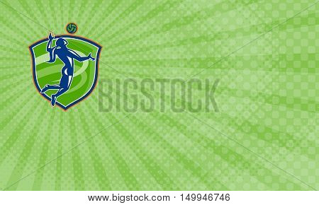 Business card showing Illustration of a volleyball player spiker spiking hitting ball set inside crest shield done in retro style.