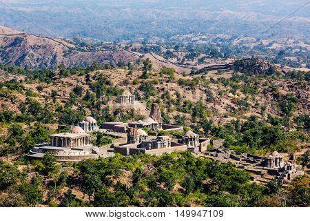 Hindu temples inside Kumbhalgarh fort. Rajasthan, India