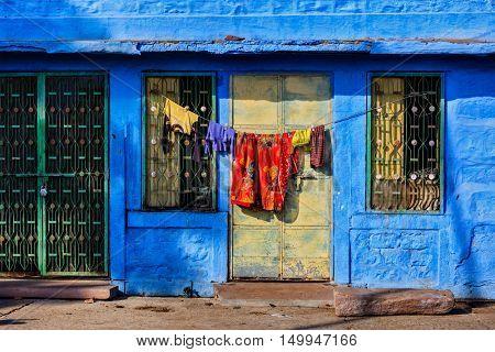 Vivid blue-painted house Jodphur the Blue City, Rajasthan, India
