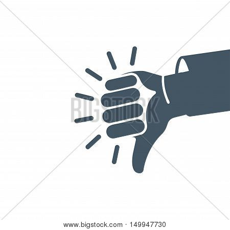 Isolated abstract grey color thumb down logo. Human hand negative gesture logotype. Dislike sign. Negative result symbol. Bad quality icon. Rejection button. Deaf people language. Vector illustration