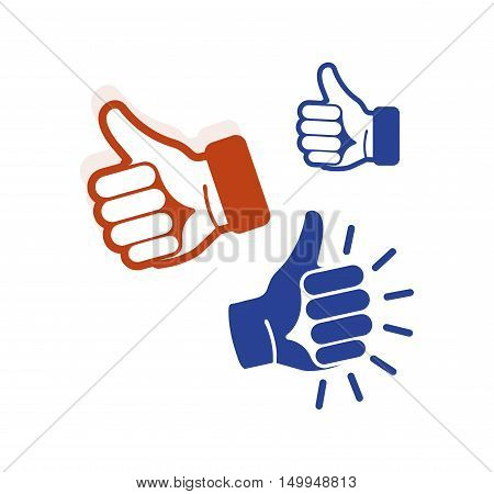 Isolated abstract blue, brown color thumb up contour logo set. Human hand with finger up logotype. Approval gesture sign. Positive estimation symbol. Social network like icon. Vector illustration