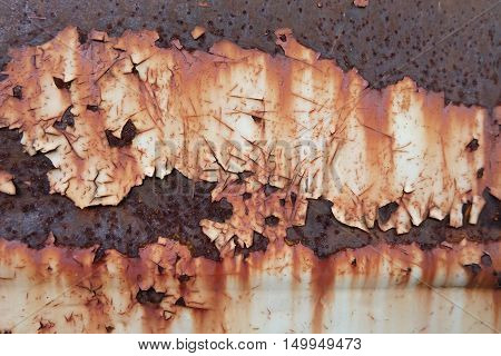 Rusted white painted metal wall. Rusty metal background with streaks of rust. Rust stains. The metal surface rusted spots.metal rust texture background