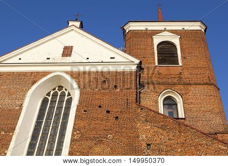 The facade of 17th century Kaunas city Cathedral Basilica in a sunset light (Lithuania).