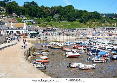 LYME REGIS, UNITED KINGDOM - JULY 18, 2016 - Boats and yachts moored in the harbour with the beach and town to the rear Lyme Regis Dorset England UK Western Europe, July 18, 2016.